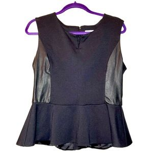NY&Co Knit Peplum Top w/ Faux Leather Panels